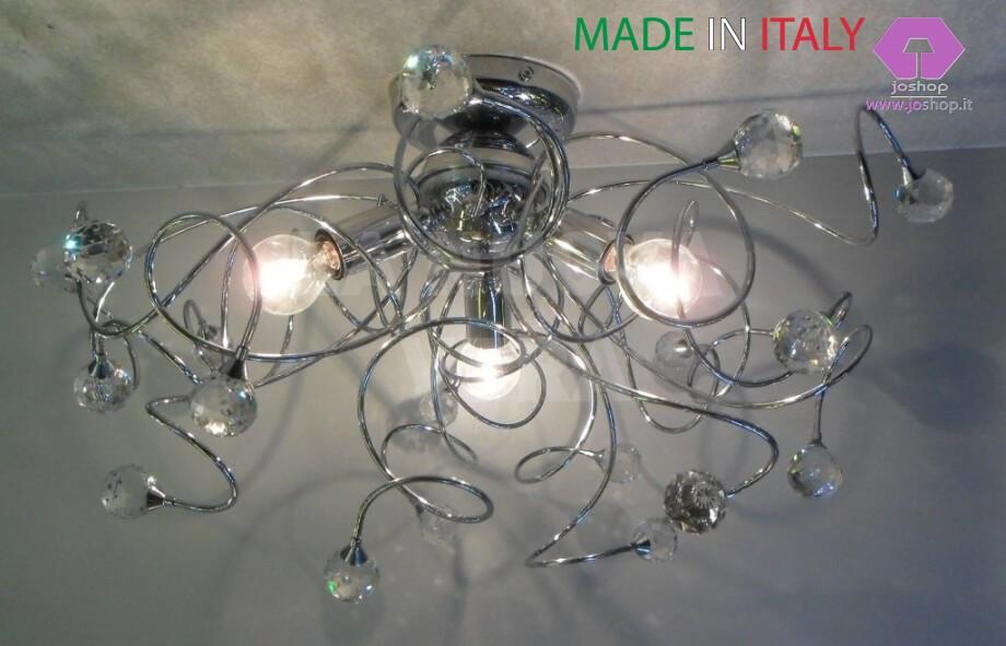 Plafoniere Con Gocce Di Cristallo : Plafoniera 3 luci mina collezione moderna joshop srls u2013 & c.