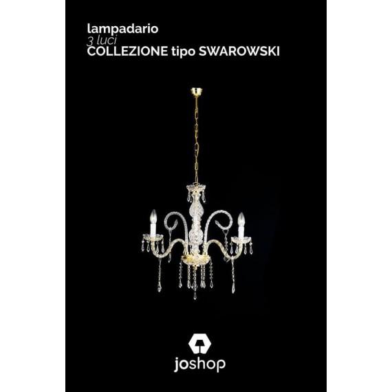 LAMPADARIO 3 LUCI COLLEZIONE CRISTAL