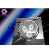 FARETTO LED AD INCASSO QUADRO CROMO LUCIDO + LAMPADA LED INCLUSA
