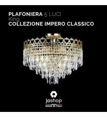 """PLAFONIERA 5 LUCI"""" KING"""" COLLEZIONE IMPERO CLASSICO"""