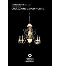 """LAMPADARIO 5 LUCI"""" VESUVIUS"""" COLLEZIONE CAPODIMONTE"""