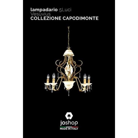 LAMPADARIO 5 LUCI COLLEZIONE CAPODIMONTE