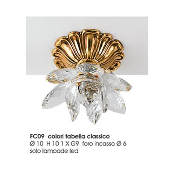 Faretto fiore bronzo Led e cristallo